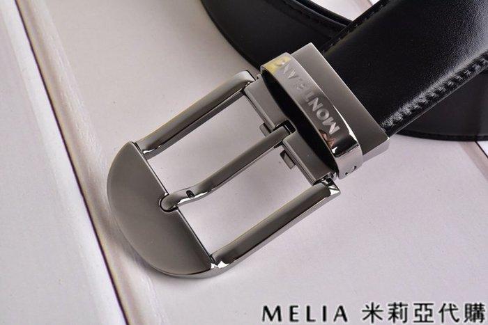 Melia 米莉亞代購 美國精品代購 Montblanc 萬寶龍 皮帶 腰帶 弧型平頭扣 鐵黑色 純鏡面打磨 包裝齊全