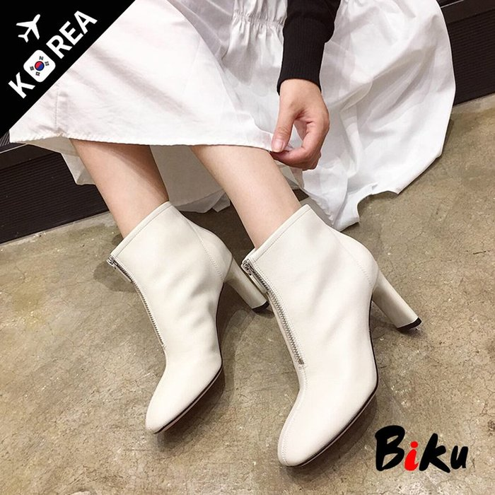 BIKU SHOES 質感防水皮面前拉鏈造型扁高跟短靴 彈力靴
