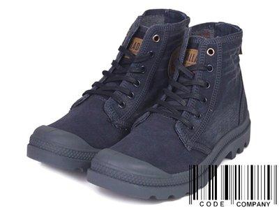 =CodE= PALLADIUM PALLADENIM 水洗單寧牛仔布軍靴(深藍) 76230-420 復古 皮標 女