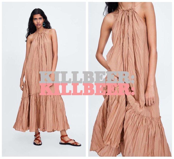 KillBeer:波希米亞嬉皮風之 歐美復古氣質優雅仙氣大地裸色挖肩性感露背流蘇綁帶連身裙長洋裝061720
