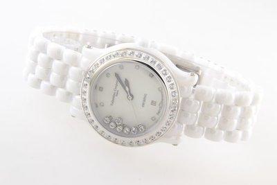 @(六四三精品)@范侖鐡諾(真品)全陶瓷.水晶鏡面.爪鑲外框晶鑽.鏡面下水鑽滑動手錶.白