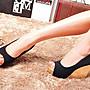 大尺碼女鞋小尺碼女鞋新款魚口百搭楔型跟鞋厚底鞋三色黑色(30-43444546)現貨#七日旅行