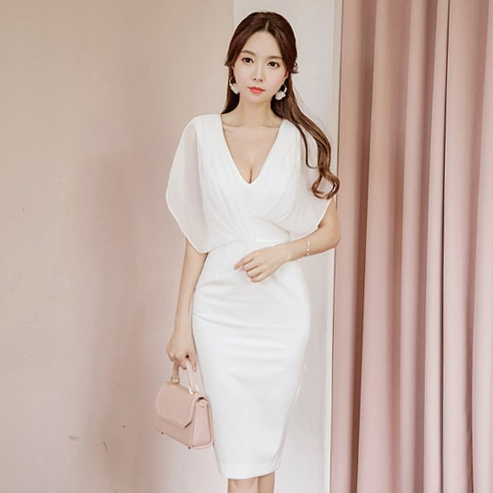 洋裝 #2073 ?Mini Moda? 雪紡連身裙  純色優雅OL範