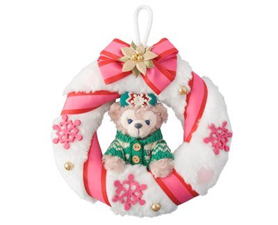 尼德斯Nydus~* 日本迪士尼海洋限定 冬季款 聖誕節限定 達菲熊 花圈 娃娃 聖誕擺飾 直徑20cm