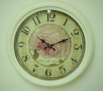 白色玫瑰仿古 鐵製掛鐘 阿拉伯數字圓鐘...