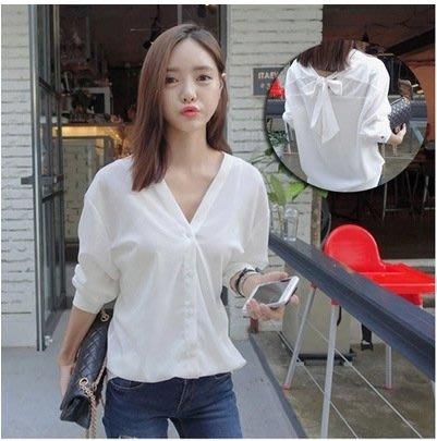 ❤Princess x Shop❤兩穿百搭長袖白色寬鬆V領蝴蝶結襯衫DL19030627正韓洋裝一字領露肩性感