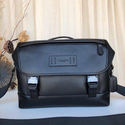 【全球精品代購鋪】COACH 79902 12月新款 男士鏤空真皮公文包 手提單肩包 購美國代購Outlet專場 可團購
