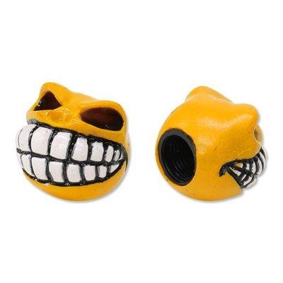 (I LOVE樂多)MOONEYES 奸詐骷髏氣嘴蓋 黃色(現貨) 汽機車/單車/電單車均可使用
