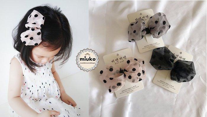 miuko BABY款韓國嬰幼兒女寶寶女童 2018春款 紗絨 點點 大蝴蝶結 髮夾/現貨
