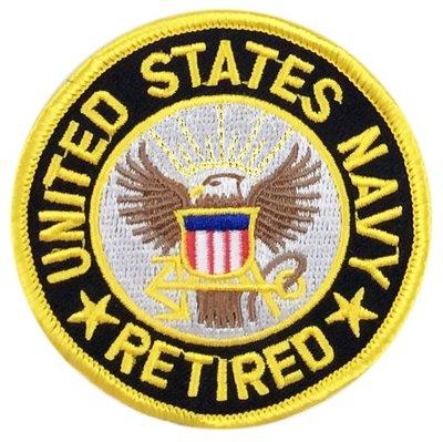 RayKae~刺繡臂章、燙貼布、熨燙徽章、刺繡燙布~美國海軍U.S. NAVY RETIRED