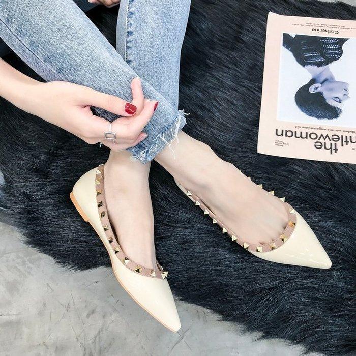 皮鞋尖頭單鞋女淺口平跟柳丁百搭歐美平底鞋子女女鞋鉚釘船鞋