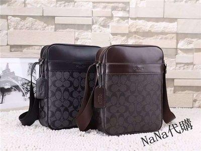 NaNa代購 美國正品 COACH 71764 黑色/咖啡色 PVC配牛皮 斜跨包 單肩包 商務 時尚 附購證 買即送禮
