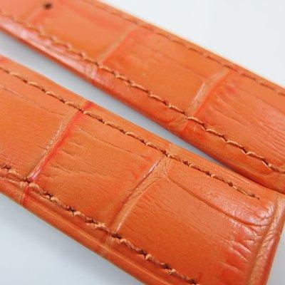 【錶帶家】『頂級嚴選』LIMA 亮面橘色義大利頭層牛皮錶帶壓鱷魚皮紋真皮 22mm 收 20mm 代用Oris等
