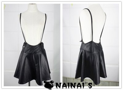 【NAINAIS】OR 2733 韓版 超可愛PU皮可調節背帶吊帶裙短裙 內有安全褲 S-M預