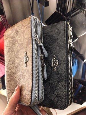 (Outlet特惠)COACH 87591 新款女士印花小號雙層零錢包 手拿包 附代購憑證