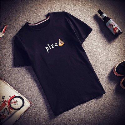 佐木妃小家潮牌夏季短袖T恤男韓版潮流修身男士半袖衣服piss刺繡印花體恤
