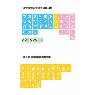 【WTB教具】注音符號認字練字結合韻磁鐵教學白板