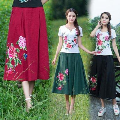 棉麻半身裙夏裝新款民族風大碼女裝裙復古繡花大擺裙長裙