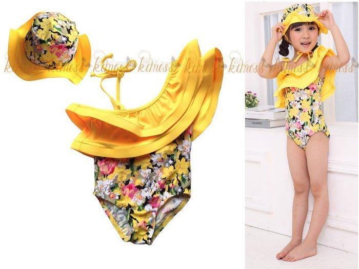 女童可愛碎花款造型連身泳衣 kimiss【CP036】