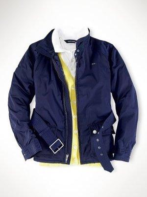 (((二手特價))) 美國 RALPH LAUREN POLO 腰帶款式立領深藍色鋪棉防風帥氣外套 (12)