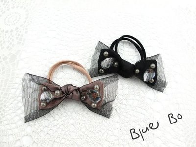 ~*BlueBo*~ 韓國飾品  質感網紗釘珠蝴蝶結雙繩髮束    橡皮筋/大腸圈/髮飾/綁綁