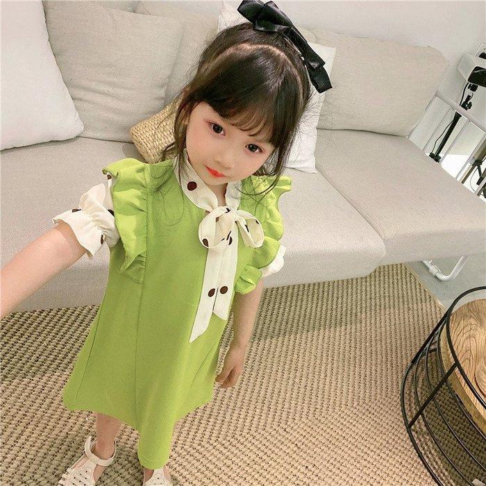 •*~ 辣媽咪衣飾小舖 ~*•❤童裝系列❤K720241韓版兒童夏款甜美可愛假二件拼接款公主裙洋裝