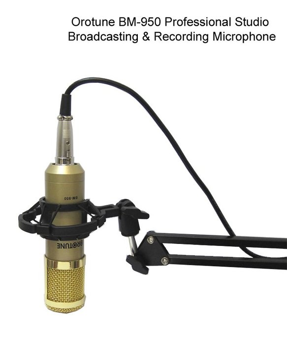 Orotune BM-950 廣播 錄音 震動音頭 電容式麥克風+360度懸臂支架 送166音效軟體