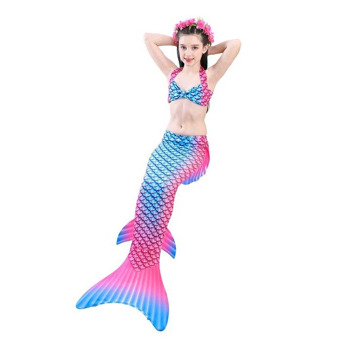 •*~ 辣媽咪衣飾小舖 ~*•❤童裝系列 📣C860845韓版卡通美人鱼尾巴表演溫泉泳装(上衣+內褲+魚尾)
