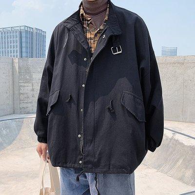 小眾男裝工裝外套男春秋ins正韓潮流寬松百搭學生香港chic慵懶風夾克上衣