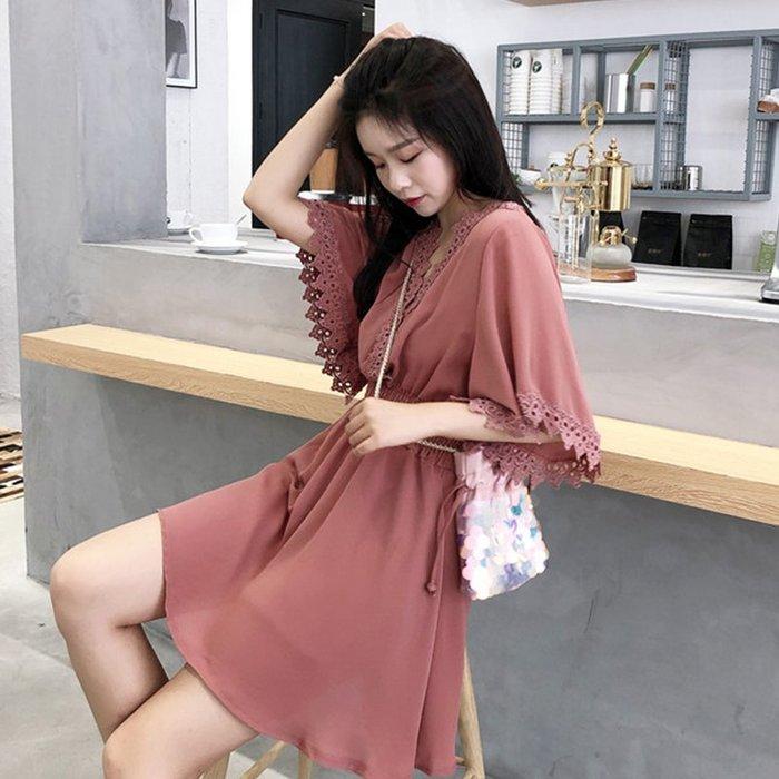 韩版新款chic复古温柔风显瘦V领花边拼接喇叭袖纯色雪纺连衣裙女