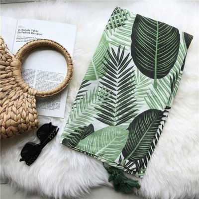 棉質棉麻圍巾綠色樹葉紗巾海邊裝飾沙灘巾防曬披肩WM-5604