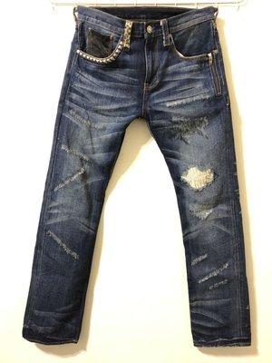 【Su】優質二手 AES 鉚釘 豹紋 刀割破壞牛仔褲 藍牛 (LEVIS、BAPE、REMIX 可參考)