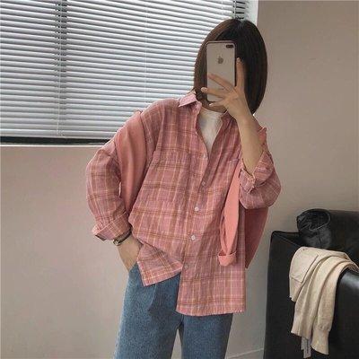 ☆Bubble Lady ☆ 【E175】清新寬鬆粉系格紋襯衫