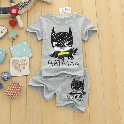 艾町Eyeing Shop 韓版 夏裝新款兒童 男童寶寶 卡通 小英雄 短袖+短褲 超值二件套裝組