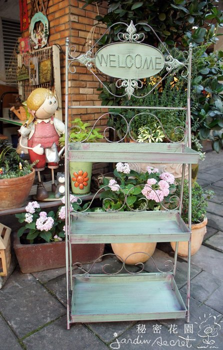 鄉村風welcome仿古三層園藝架/花架/置物架/三層架/收納展示架--秘密花園