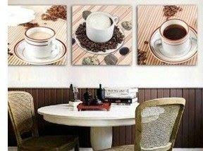 【王哥特賣店】咖啡杯歐式掛畫無框畫三聯畫|現代簡約餐廳裝飾畫|時尚家居壁畫