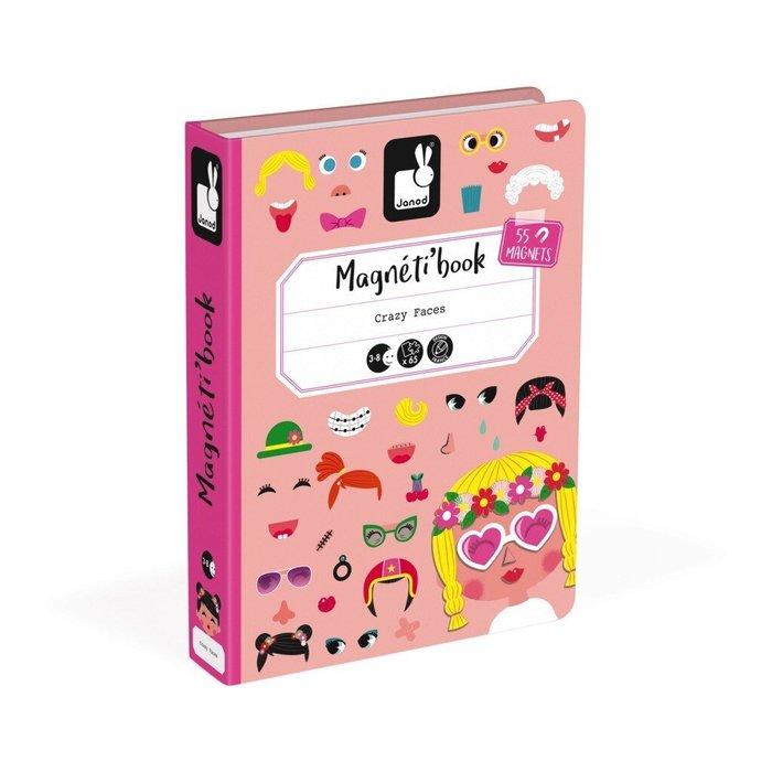 【魔法世界】法國 Janod 創意兒童智玩 磁鐵遊戲書-俏皮的臉
