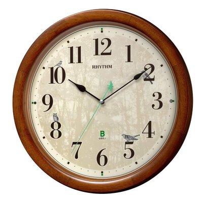 日本正版 Rhythm 麗聲 樹木 貓頭鷹 靜音秒針 掛鐘 時鐘 木框 日本野鳥協會 8MN408SR06 日本代購
