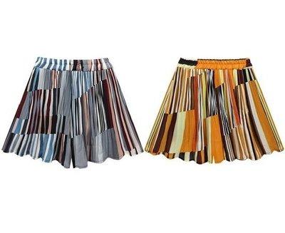 加大尺碼630 春裝新款大碼時尚女裝彩色條紋短褲裙