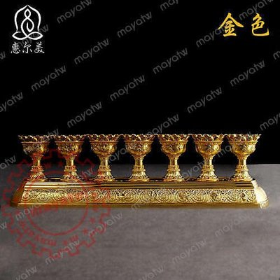 RELI~S221 密宗法器全合金蓮花酥油燈台一組7只蠟燭台佛教佛堂用品