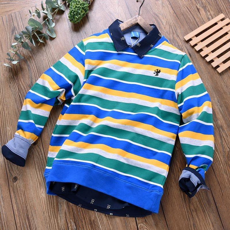 中大童男童條紋衛衣純棉春秋季新款兒童裝彩條寬松打底衫潮