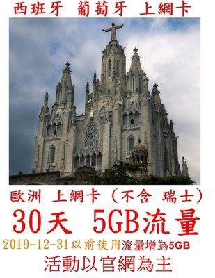 【杰元生活館】西班牙 葡萄牙 上網卡 30天 5GB 流量  免實名制