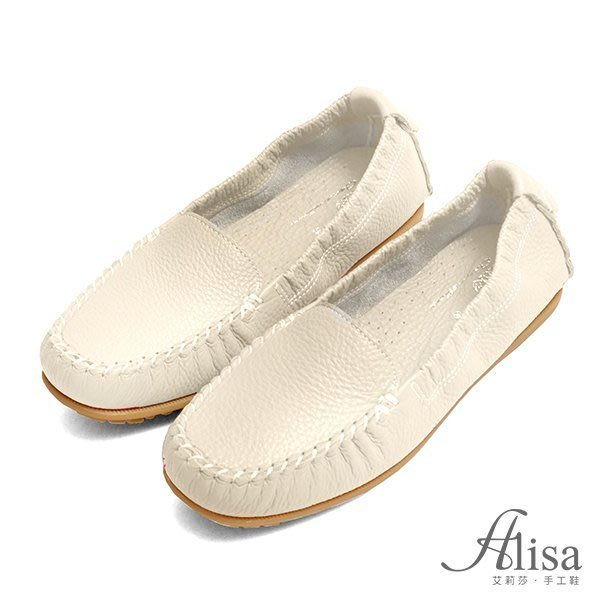 專櫃女鞋 素面車縫線超軟豆豆鞋-艾莉莎Alisa【8802】米白色下單區