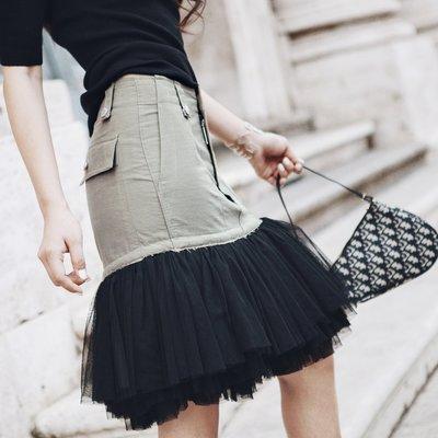《巴黎拜金女》網紗拼接半身裙A字裙蓬蓬短裙
