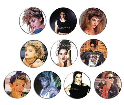 現貨 MADONNA 80's Portrait pinback BADGE SET 2a 襟章 徽章 (一套10個)