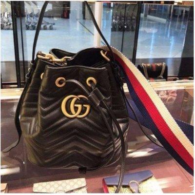 二手Gucci 476674 GG Marmont quilted leather bucket 水桶肩背包 粉紅