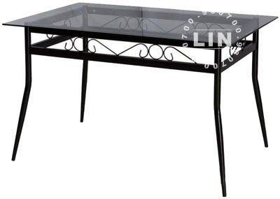 【品特優家具倉儲】457-10餐桌洽談桌富貴烤黑束管玻璃餐桌