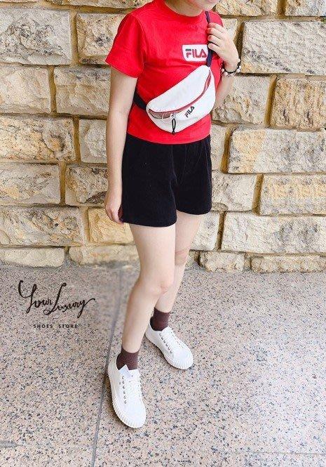 【Luxury】FILA 修身短款 T恤 黑 黃 紅 白 4色 女款 短版 LOGO上衣 短版上衣 韓國代購 正品
