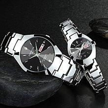 新款鎢鋼色手錶男士女士情侶對錶時尚石英雙日歷防-夜行依