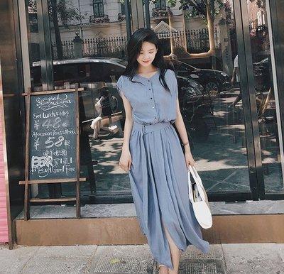 限時特價499YOHO小編推薦款連身裙 (19JHL0715-12)韓超有垂感氣質雪紡連身裙 短袖洋裝 S-XL 有3色